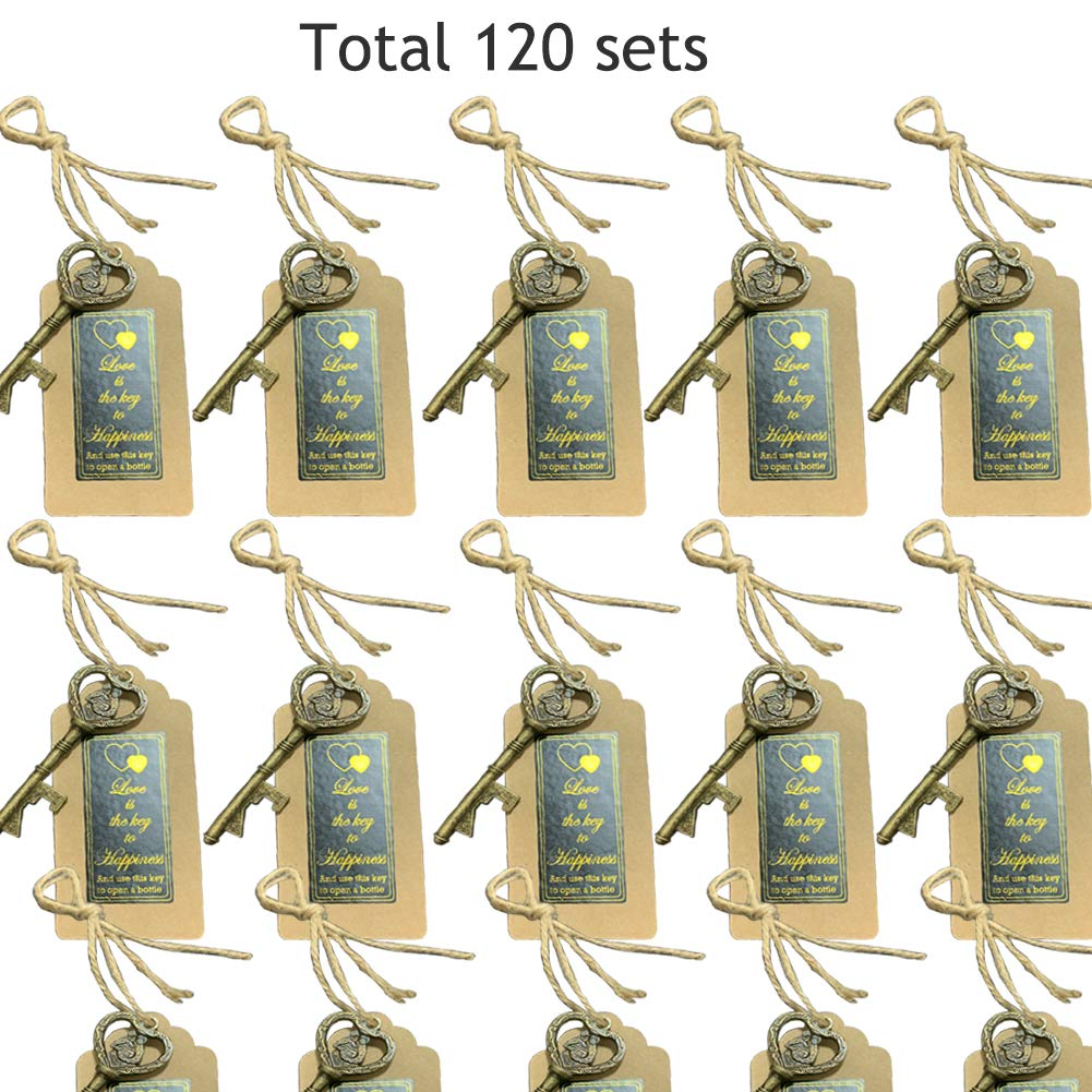 Bronze Heart Marrage Style Wedding Party Favors Thanksgiving Love is the Key to Happiness Sticker Baby Shower and Special Events Decoration Key Bottle Openers 120 packs- with Escort Tag Card