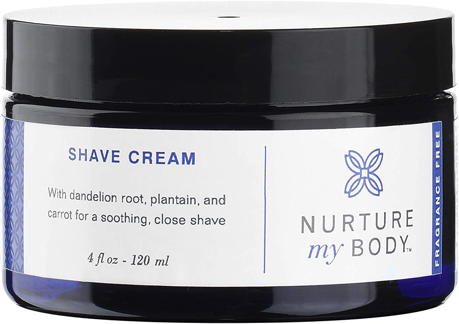 Natural Shave Cream by Nurture My Body | Certified Organic, Fragrance Free | For Sensitive Skin (4 fl oz.)