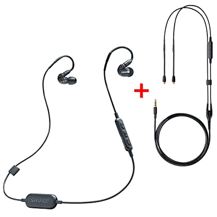 3ff8c767955 Amazon.com: Shure SE215-K-BT1 Wireless Bluetooth Sound Isolating Earphones  (Black) with RMCE Remote/Mic Cable: Musical Instruments