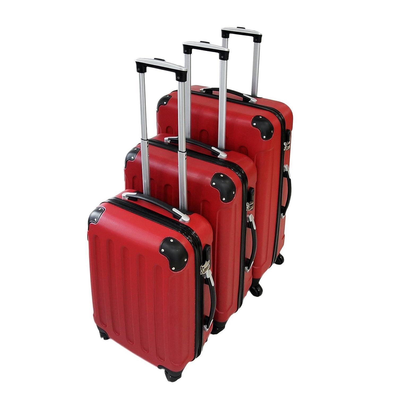 Todeco - Set de Valises, Bagages pour Voyage - Matériau: Plastique ... - Valise Rouge