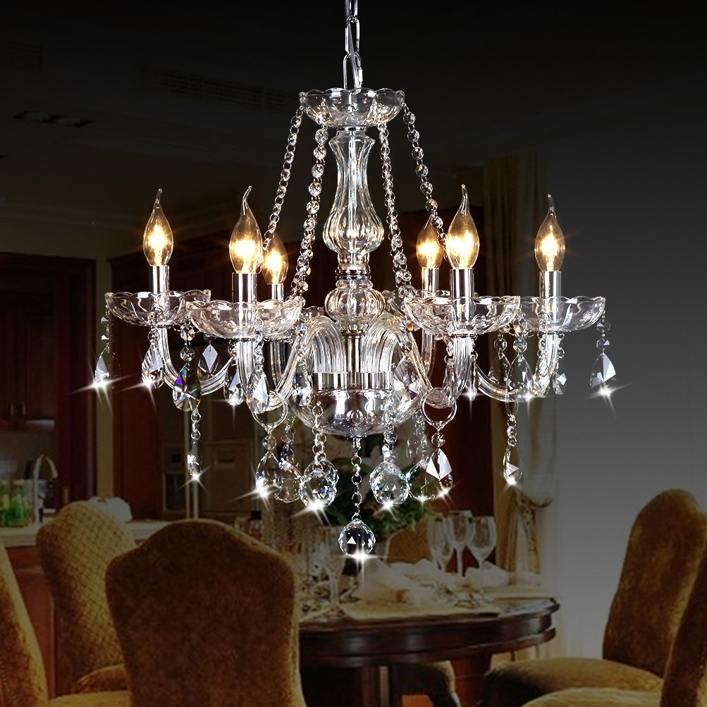 CRYSTOP Classic Vintage Crystal Candle Chandeliers Lighting 6 Lights Pendant Ceiling Fixture Lamp for Elegant Decoration D23.6'' X L47.2''