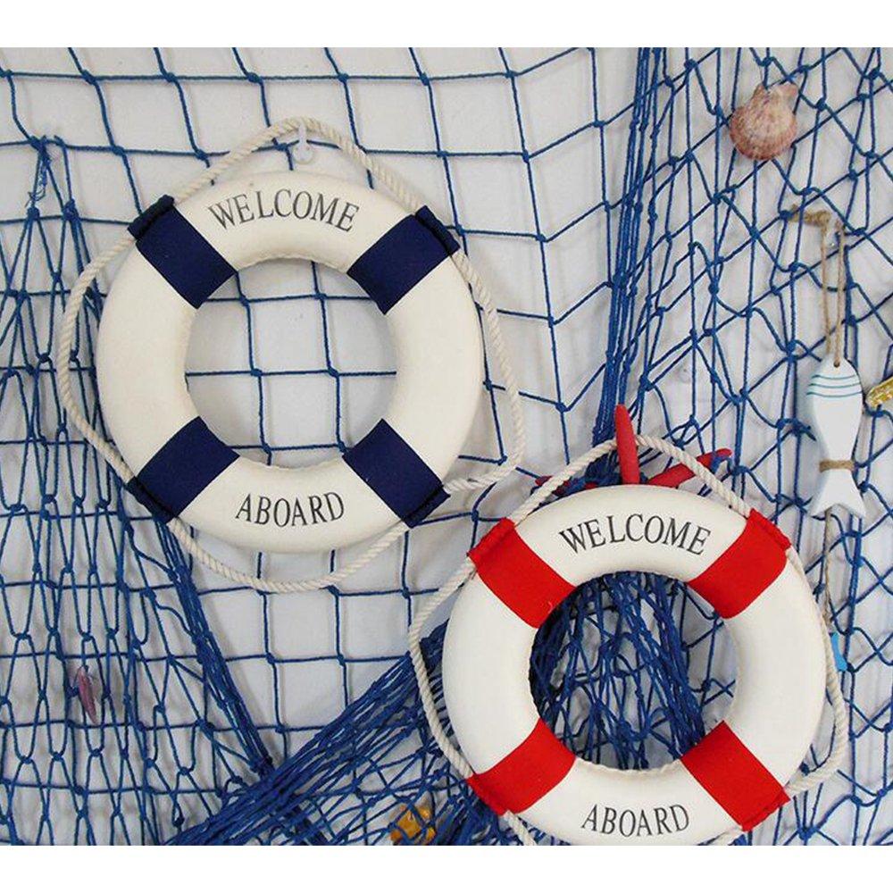 Naisicatar Salvavidas Marino méditerraneen Flotador de natación Anillo casa decoración o el Muro Ornamentos Decorativos Azul 20 cm x 1: Amazon.es: Hogar