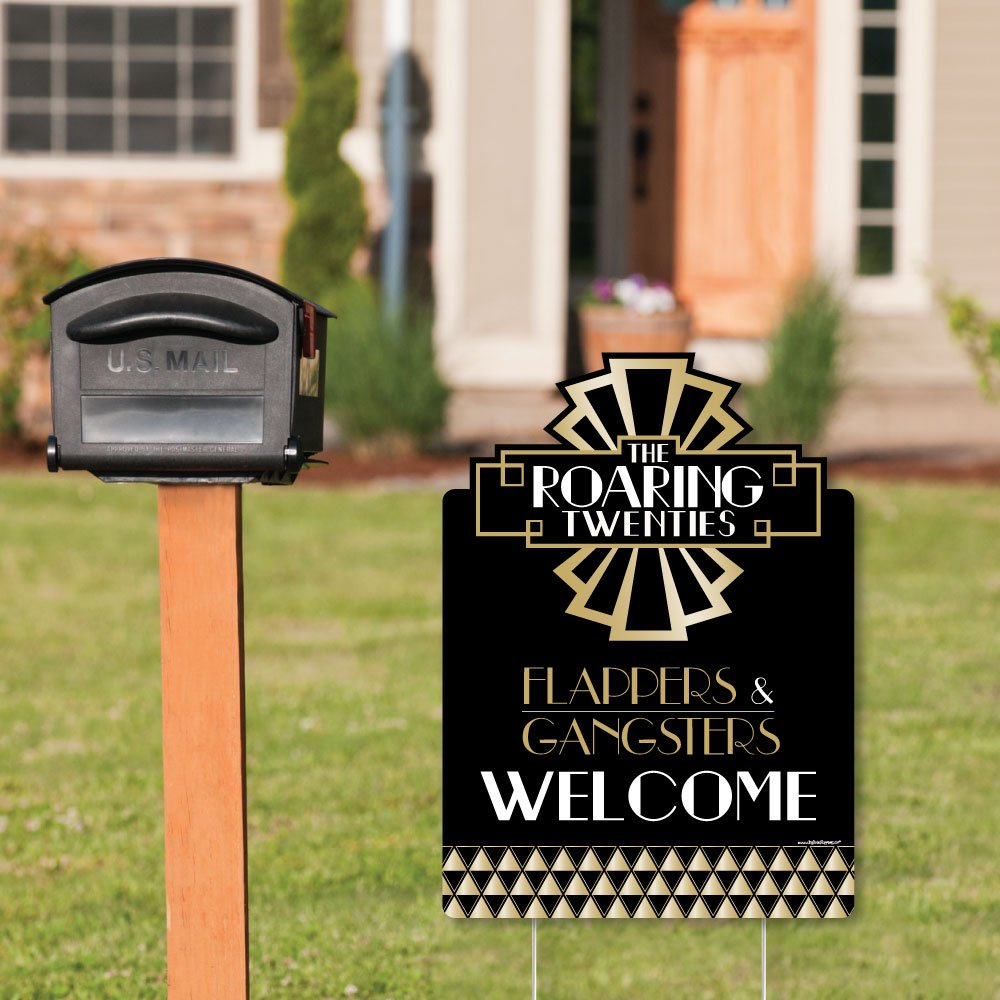 Big Dot of Happiness Roaring 20s 1920s Art Deco Jazz Party Welcome Yard Sign Party Decorations
