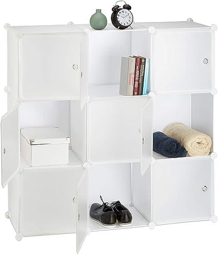 Relaxdays Estantería Modular con 9 Compartimentos, Plástico,, 146 x 110 x 46 cm