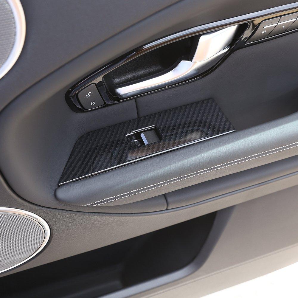 Fibre de carbone Style Plastique ABS Accessoires Window Lift Button Cadre Coque Bordure gauche Manche pilote 4/pcs