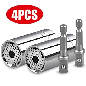 """Universal Socket Grip Adapter Linkstyle 4PCS Grip Socket Set Ratchet Wrench Power Drill Adapter 1/4""""-3/4""""(7mm-19mm), Professional Repair Tools Gifts for Dad Men Fathers Day Husband DIY Handyman"""