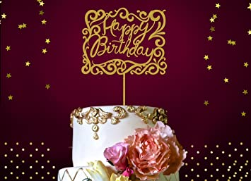 Amazoncom Happy Birthday Cake Topper Fabulous Gold Glitter Cake