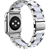 Wearlizer Compatible with Apple Watch Band 42mm 44mm Fashion Womens Mens Silver Stainless Steel Strap White Resin…