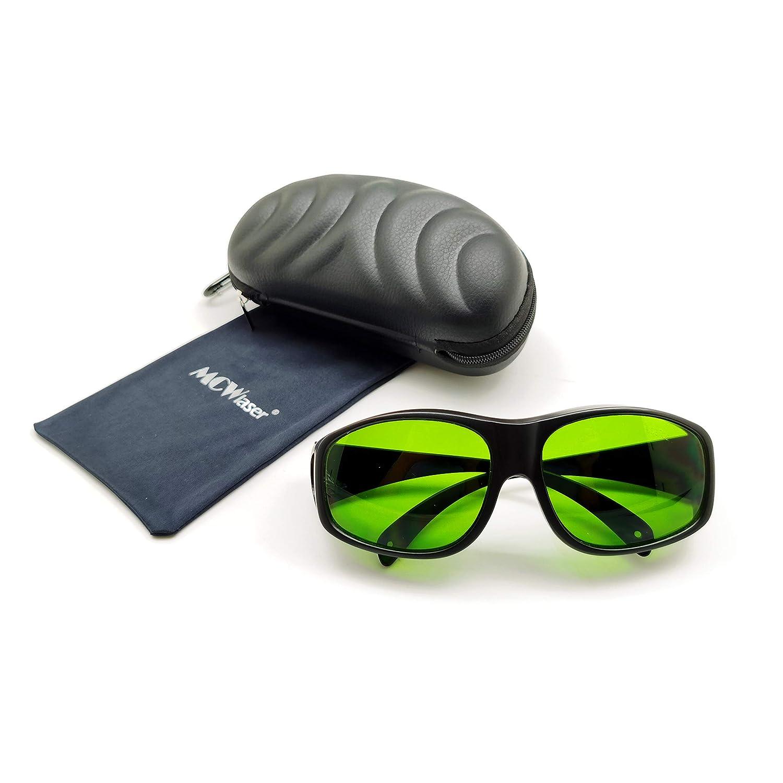 MCWlaser Gafas protectoras de seguridad láser Gafas 190-470 y 800-1700nm Típico para 355nm 405nm 445nm 532nm 808nm 810nm 980nm 1064nm 1470nm 1550nm Tipo de absorción EP-8 Estilo 9