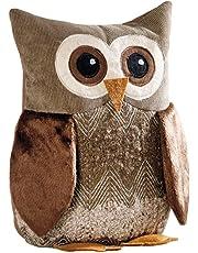 """Fermaporta a forma di gufo, """"Egon"""", gufo decorativo. Tessuto morbido in velluto a coste, ciniglia e peluche. Tonalità armoniose: marrone e naturale. Imbottitura pesante: 100% poliestere. Altezza: 25cm, Braun- und Naturtönen,, Höhe 25 cm,"""