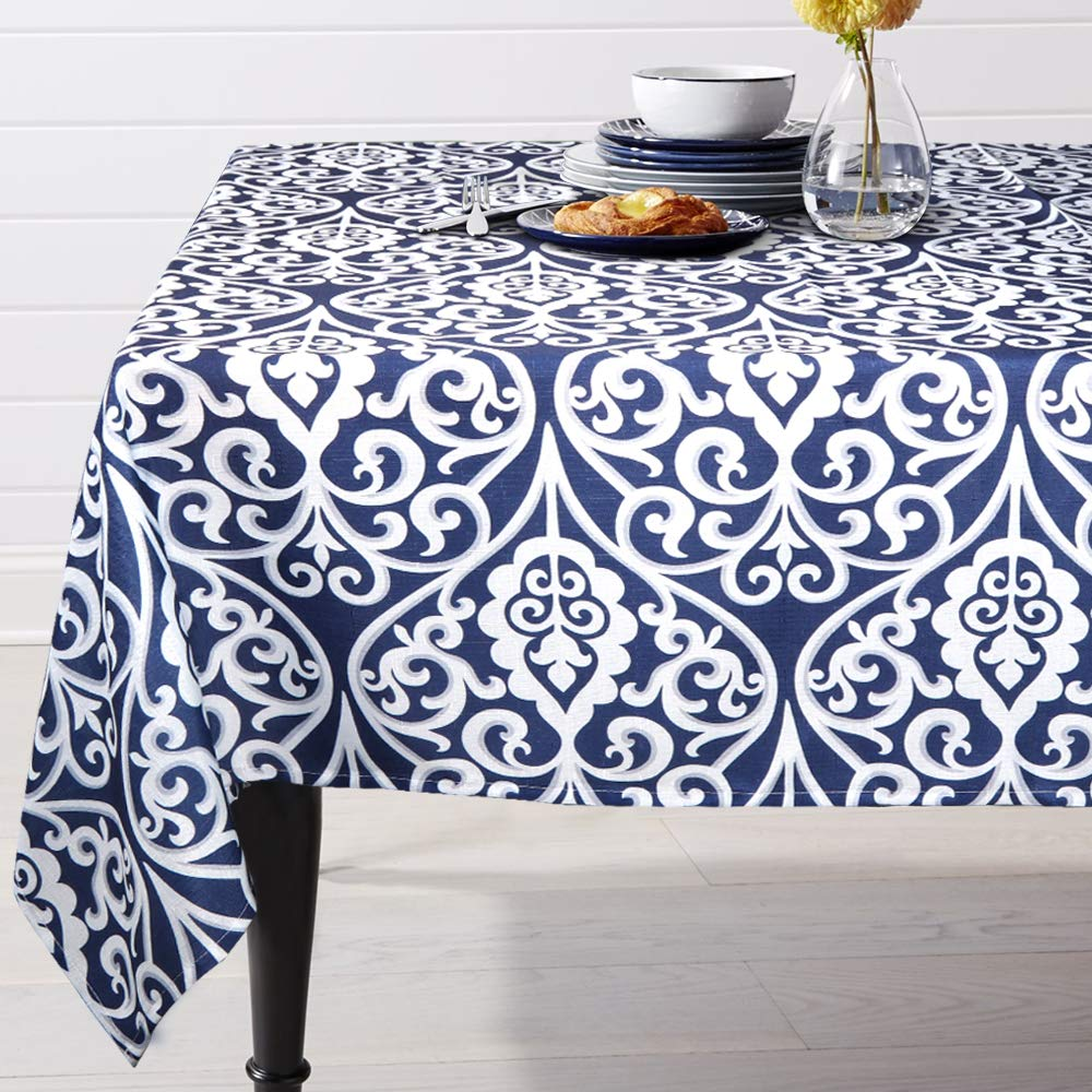 ColorBird Navy Damask Pattern Tablecloth Polyester Fabric Table Cover for Kitchen Dinning Tabletop Linen Decoration (Rectangle/Oblong, 60 x 84 Inch, Blue)