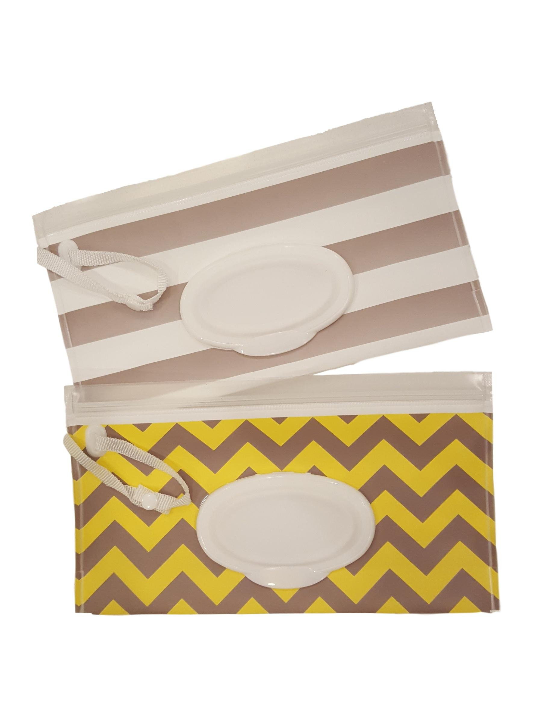Little Stinker 2 Pack Baby Wipe Case Holder - Keeps Wipes Moist - Premium Wetwipe Cases - 1 White 1 Yellow