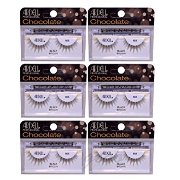 e85ba3abd4b Amazon.com : (6 Pack) ARDELL Professional Lashes Chocolate Collection - Black  Brown 888 : Beauty