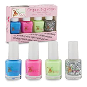 Karma Kids Nail Polish Box Set No. 1 Natural Safe Nail Polish for Little Girls - Non-Toxic, Vegan, and Cruelty Free – Quick Dry Kids Friendly