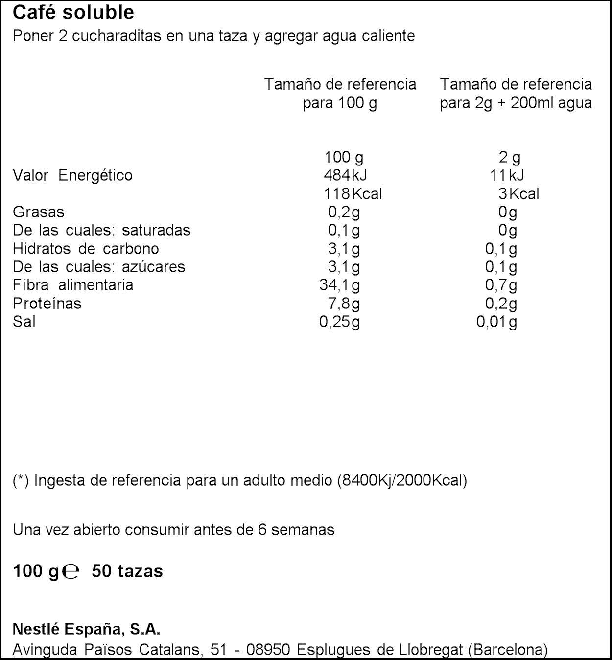 Nestlé Dolce Gusto Gold Natural Café Soluble - 100 gr: Amazon.es: Alimentación y bebidas