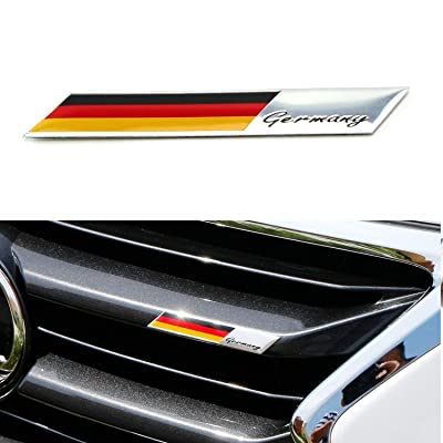 iJDMTOY Aluminum Plate Germany Flag Emblem Badge Compatible With Germany Car Front Grille, Side Fenders, Trunk, Dashboard Steering Wheel, etc: Automotive