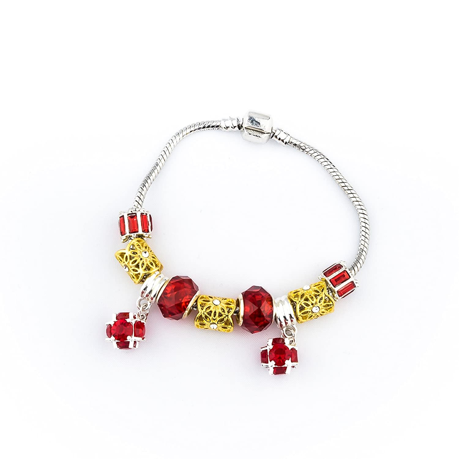 Gold and Red Beads Sliver Plated Snake Chain Charm Strand Bracelet