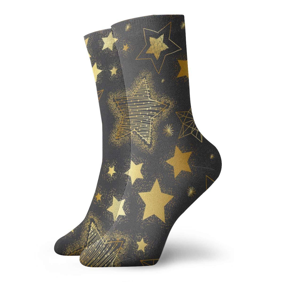 Golden Stars Unisex Funny Casual Crew Socks Athletic Socks For Boys Girls Kids Teenagers