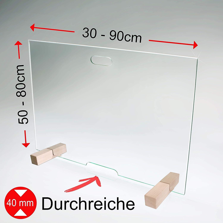 HxB 700x300mm M3 Hustenschutz und Hygieneschutz bijon Spuckschutz Glas Antibakteriell als Virenschutz Spuckschutz Thekenaufsatz Mehr Schutz gegen Viren als Plexiglas Acryl-Glas