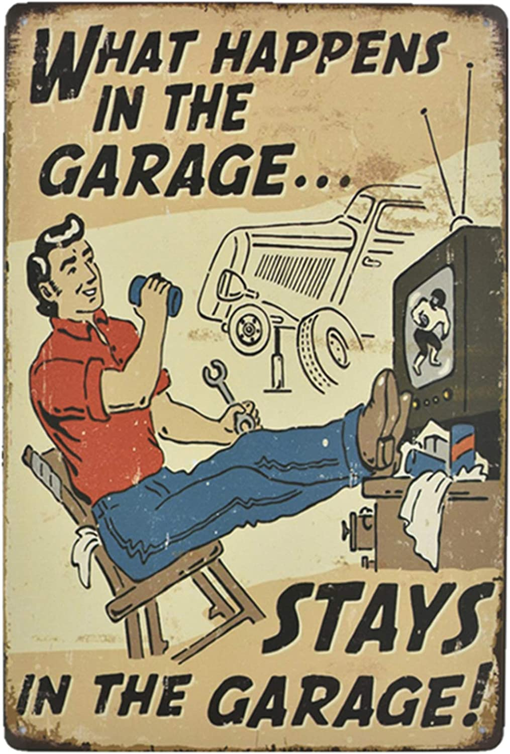Flytime What Happens in The Garage Vintage Tin Sign Man Cave Retro Posters Bar Pub Wall Decor Coffee Signs 8X12Inch