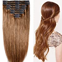 40 cm-55 cm Clip-In Thick Extensions Set 100% Remy Genuine Hair 8 Pieces 130g-160g...