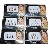 WEVEZ Pack of 6 Multi Color Long Rhinestone Body Glitters Reusable Bindi