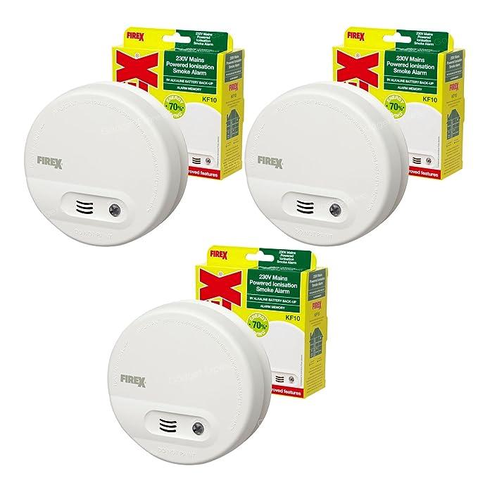 3 x Kidde FireX antihumo detectores de alarma de incendio KF10 4870 con batería prueba y botón de silencio: Amazon.es: Bricolaje y herramientas