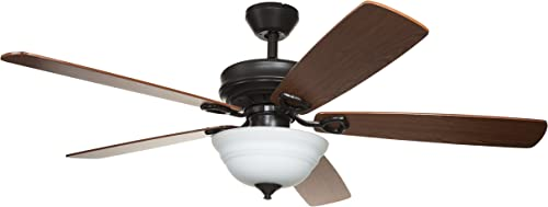 Hyperikon 52 Inch Ceiling Fan with Remote Control, Brown Ceiling Fan, Five Reversible Blades and Frosted Dome Light – Bulb Not Included