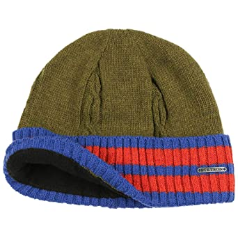 08fd4d3e1c3 Stetson College Wool Beanie Hat Cuffed (One Size - Olive)  Amazon.co.uk   Clothing