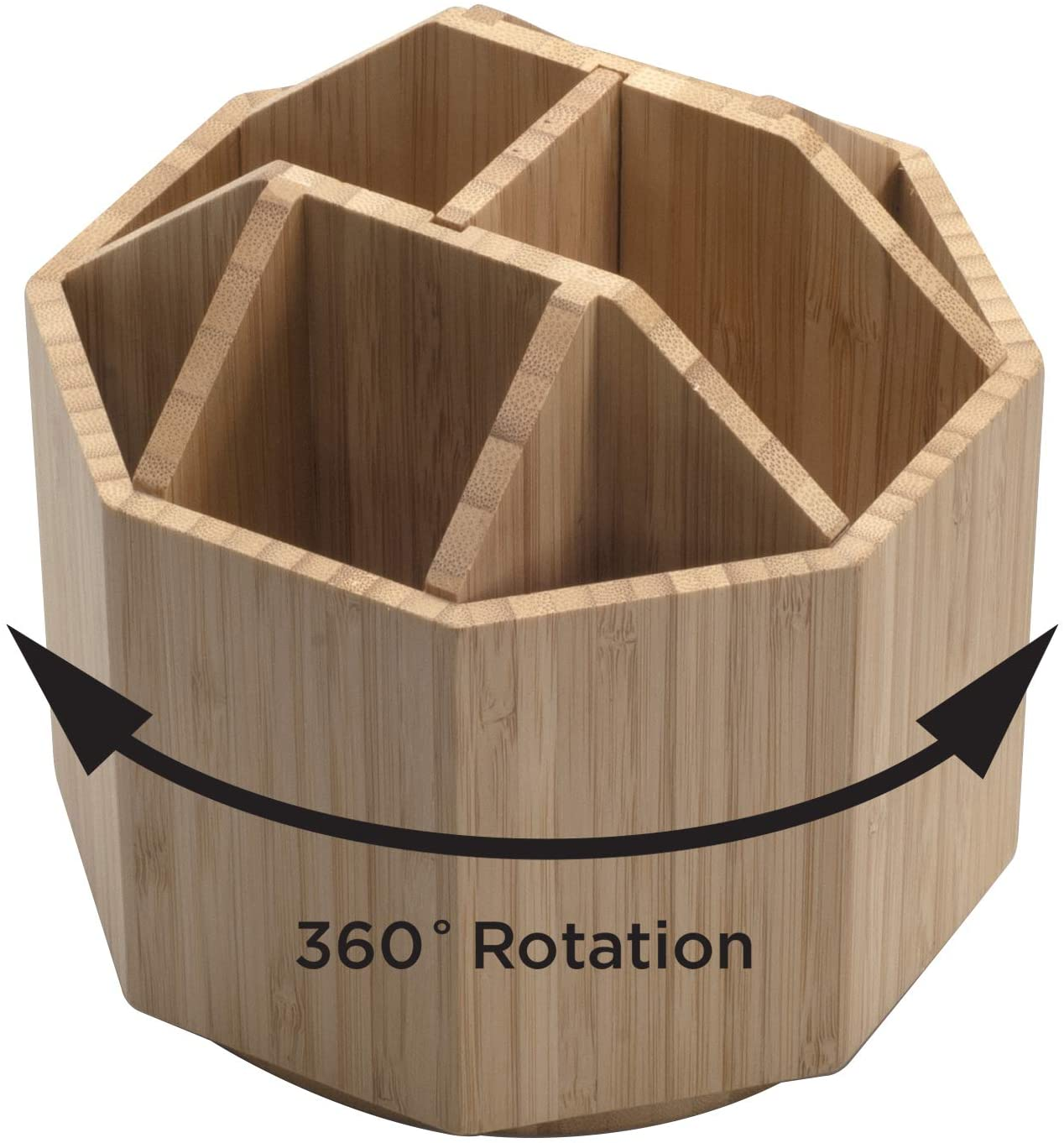 Bamboo Rotating Utensil Holder & Kitchen Organizer, Multiple Compartments, 8 Sections, store Forks, Serving Spoons, Knives, and other cooking tools with Removable Divider for Customized Storage: Home Improvement