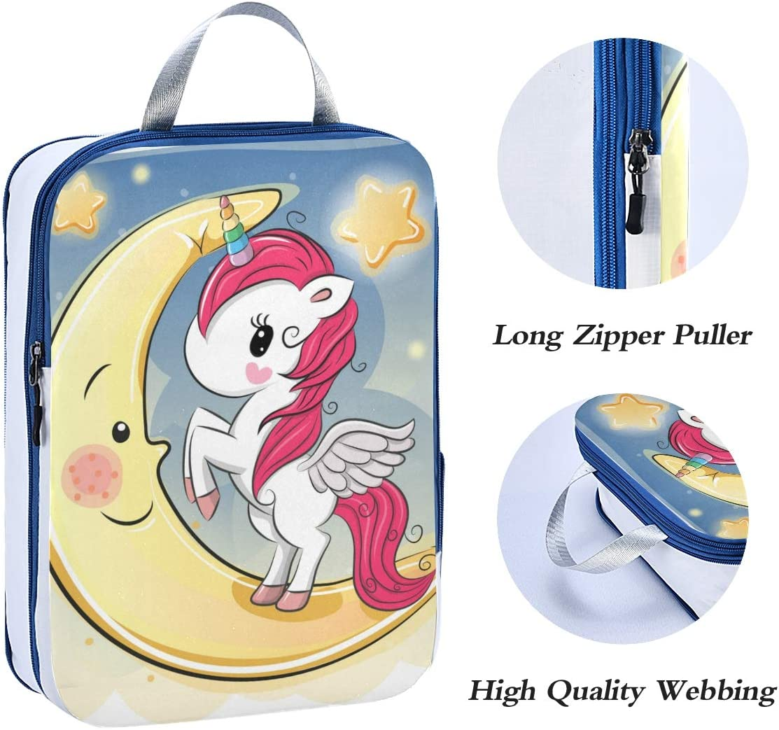 Unicorn On Moon 3 Set Packing Cubes,2 Various Sizes Travel Luggage Packing Organizers t