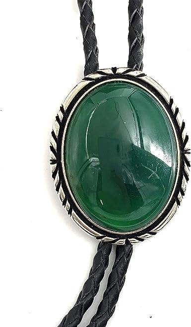 SELOVO Vintage Style Western Green Large Rhinestone Silver Tone Statement Bolo Tie