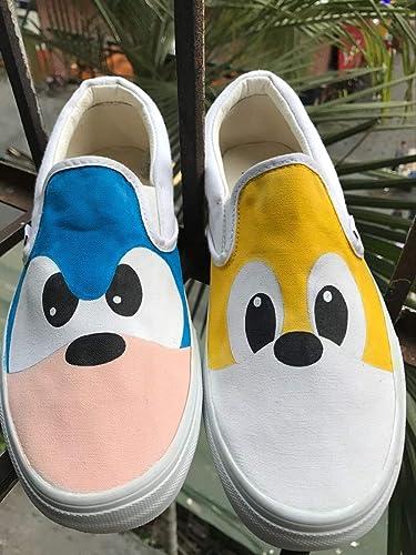 1f87a4d1a5d7 Amazon.com  Vans Slipon Custom Shoes Vans Sonic Custom Hand Painted Shoes  Hand Painted Vans Slipon Custom Vans Sneakers FREE SHPPING  Handmade