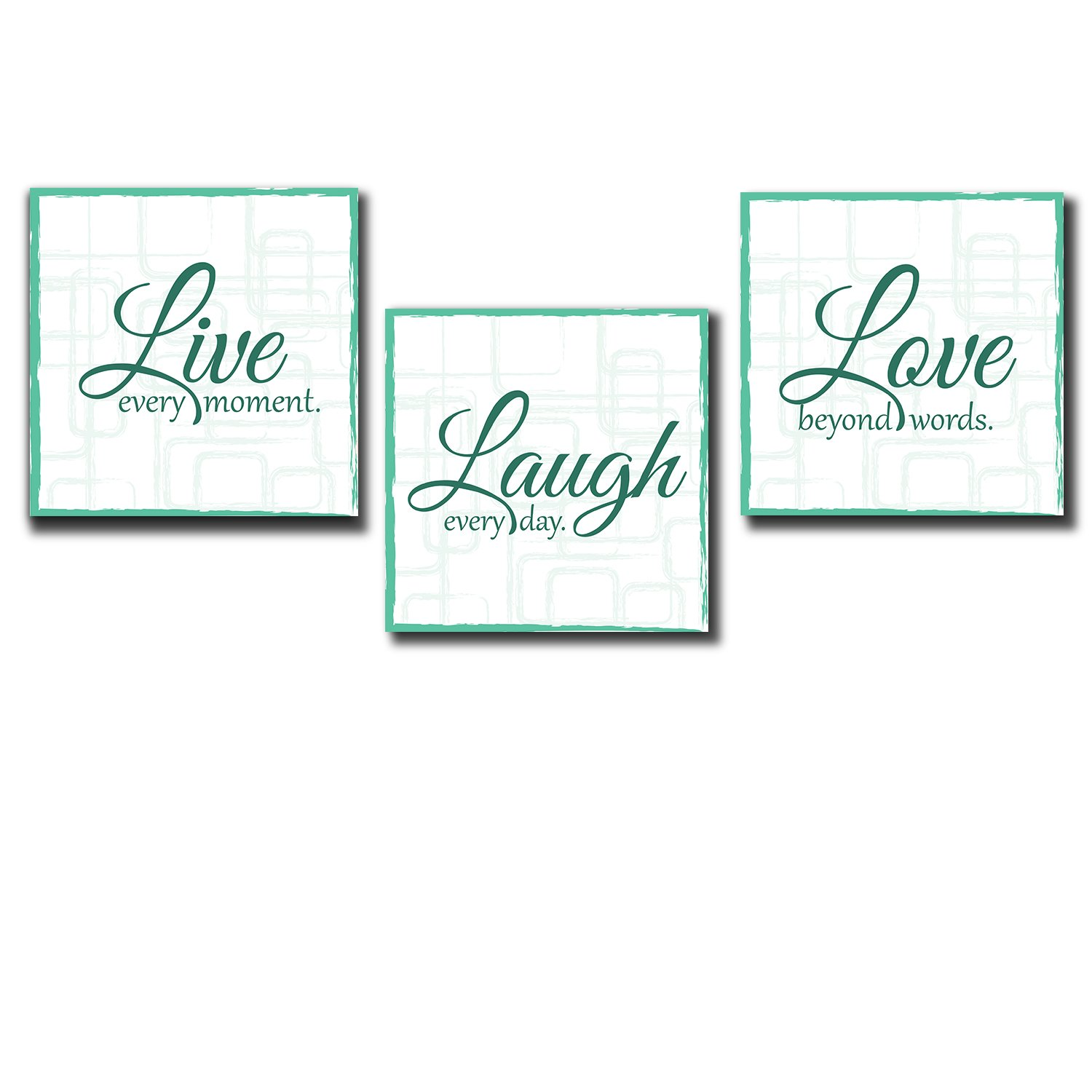 Live Laugh Love - 3 Piece Canvas Print - Wall Art Decor - Gallery Wrap Panels on Wooden Stretcher Bars - Colorful Design for Home - Beautiful Quote - Ready to Hang - Wall26 -Teal
