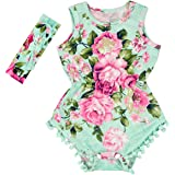 f1b8eca1640 Anbaby Baby Girls Floral Ruffles Romper Long Sleeve   Sleeveless One-Pieces  Bodysuit Floral Outfits