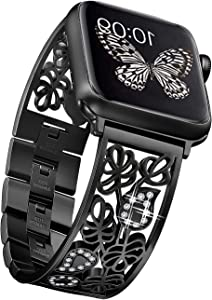 Secbolt Carved Flower Bling Bands Compatible with Apple Watch Band 42mm 44mm iwatch SE Series 6/5/4/3/2/1, Stainless Steel Dressy Jewelry Diamond Bracelet Bangle Wristband Women, Black
