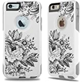 iPhone 6 Case White Baroque Flowers [Dual Layered Hybrid] Protective Commuter Case for iPhone 6s White Case by Unnito