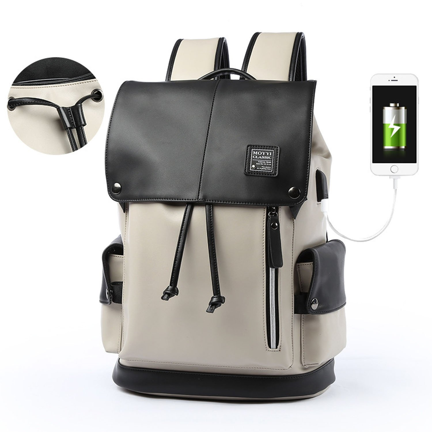 Laptop Backpack Water Resistant Business Travel Computer Bag for 14-Inches Laptops,Black and white Drawstring charging