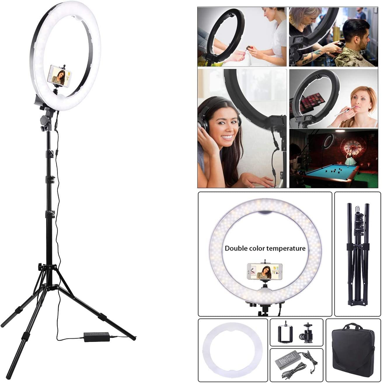 HULYZLB LED Ring LightCamera Photo Video Lightning Kit,18in Outer 55W 5500K Dimmable LED Ring Light with Stand for YouTube//Vine Self-Portrait