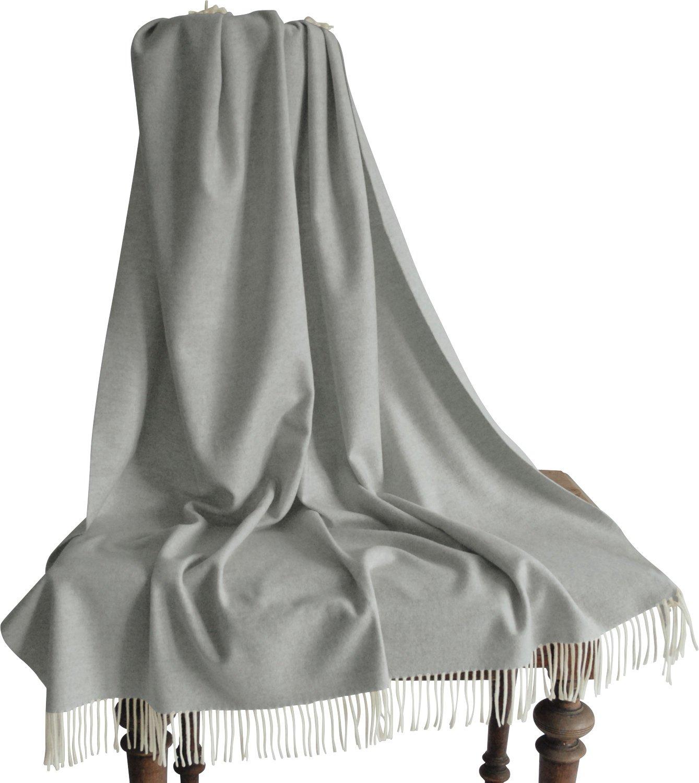 Steinbeck Plaid Lammwolle grau Größe 130x190 cm