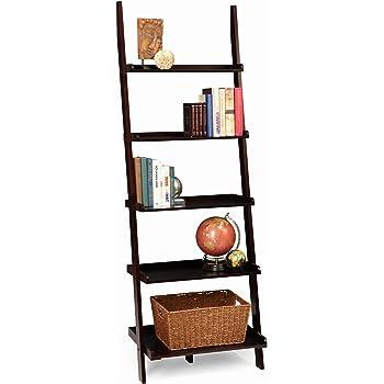 Furniture Of America Klaudalie 5 Tier Ladder Style Bookshelf Black IDF AC6213BK