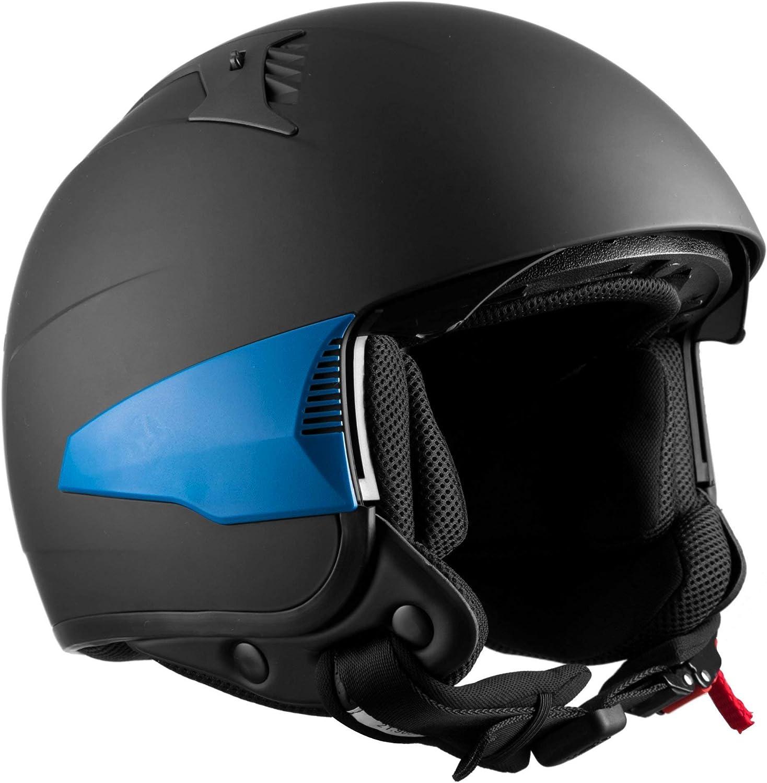 Open Face Helmet for Motorcycle Scooter Moped with Sun Visor Westt Rover Motorbike Helmet Matte Black 3 Interchangeable Side Parts ECE Certified
