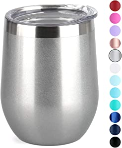 SUNWILL Insulated Wine Tumbler with Lid (Pearlized Silver), Stemless Stainless Steel Insulated Wine Glass 12oz, Double Wall Durable Coffee Mug, for Champaign, Cocktail, Beer, Office use