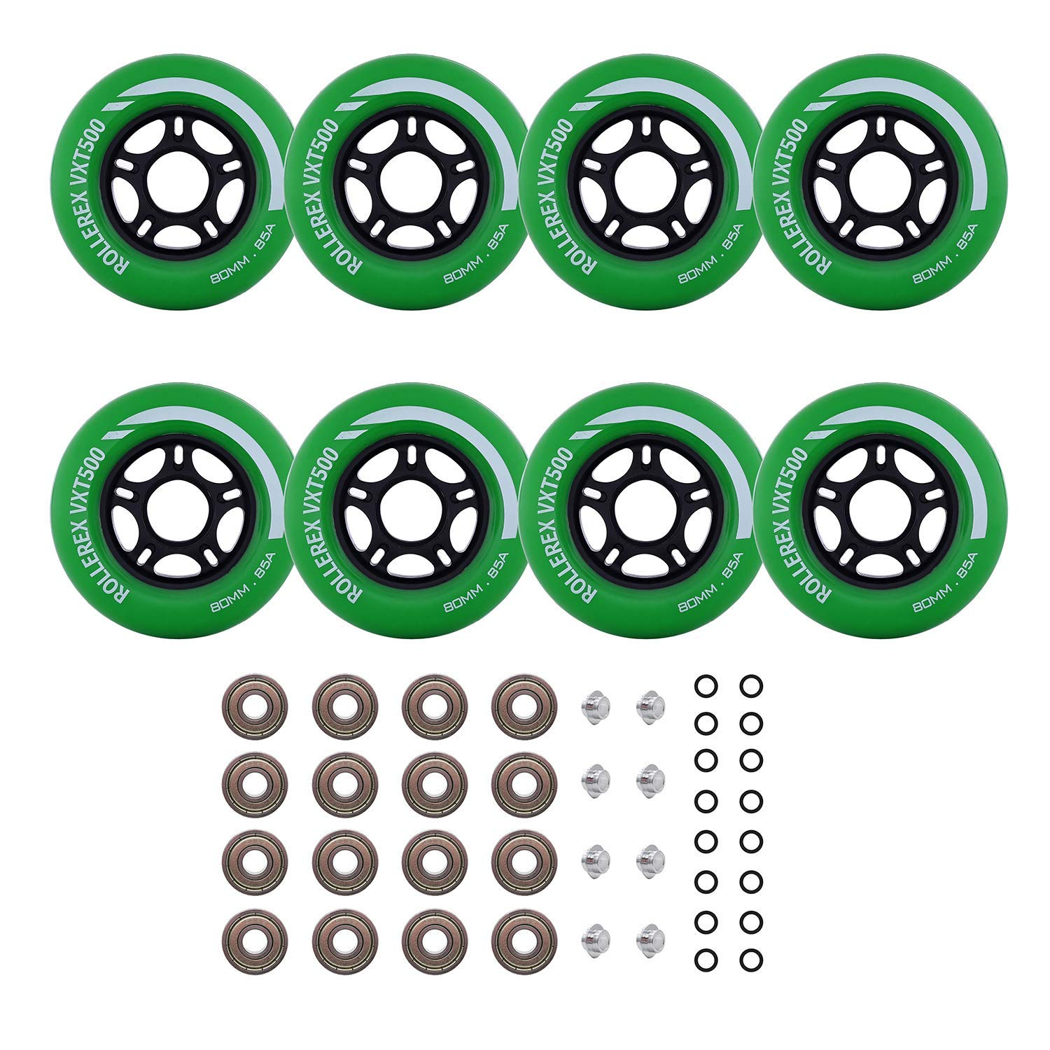 Rollerex Inline Skate Wheels VXT500 80mm (8-Pack or 2-Pack or 2 Wheels w/Bearings, Spacers and Washers) (80mm Turf Green (8 Wheels w/Bearings, spacers and washers)) by Rollerex