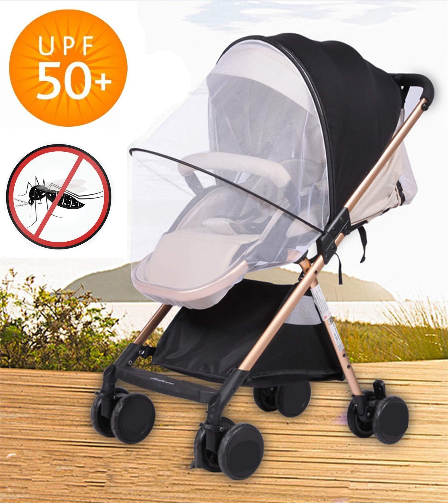 Sun Shade Stroller Car Seat Sunshade Bassinet Playpen Crib Stroller Net-Nice Visiblity and Air Permeability Design (Black + Sunshade)