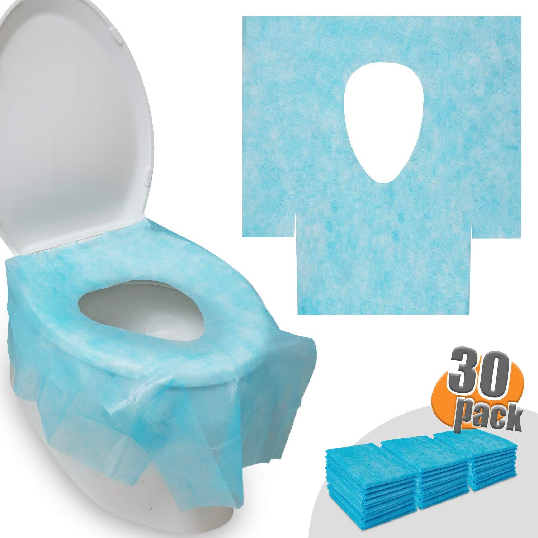 HBselect 30 Pezzi Copriwater Monouso Antibatterico per Bambini e Adulti 65 x 60 cm Coprisedili Igienico USA e Getta Copri Gabinetto Toilette Impermeabile Portatile WC Cover Blu