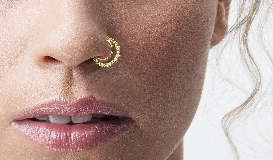 Amazon Com Tribal Nose Ring 14k Gold Handmade Nostril Piercing