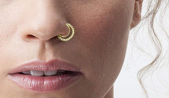Tribal Nose Ring 14k Gold Handmade Nostril Piercing Hoop In 20 Gauge 7mm