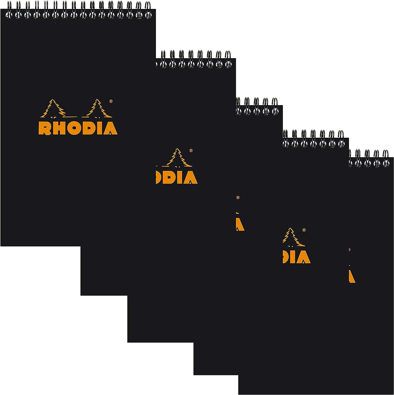 Satin Rhodia Wirebound Notebook 8.8 X11.75 Inches Black Grid