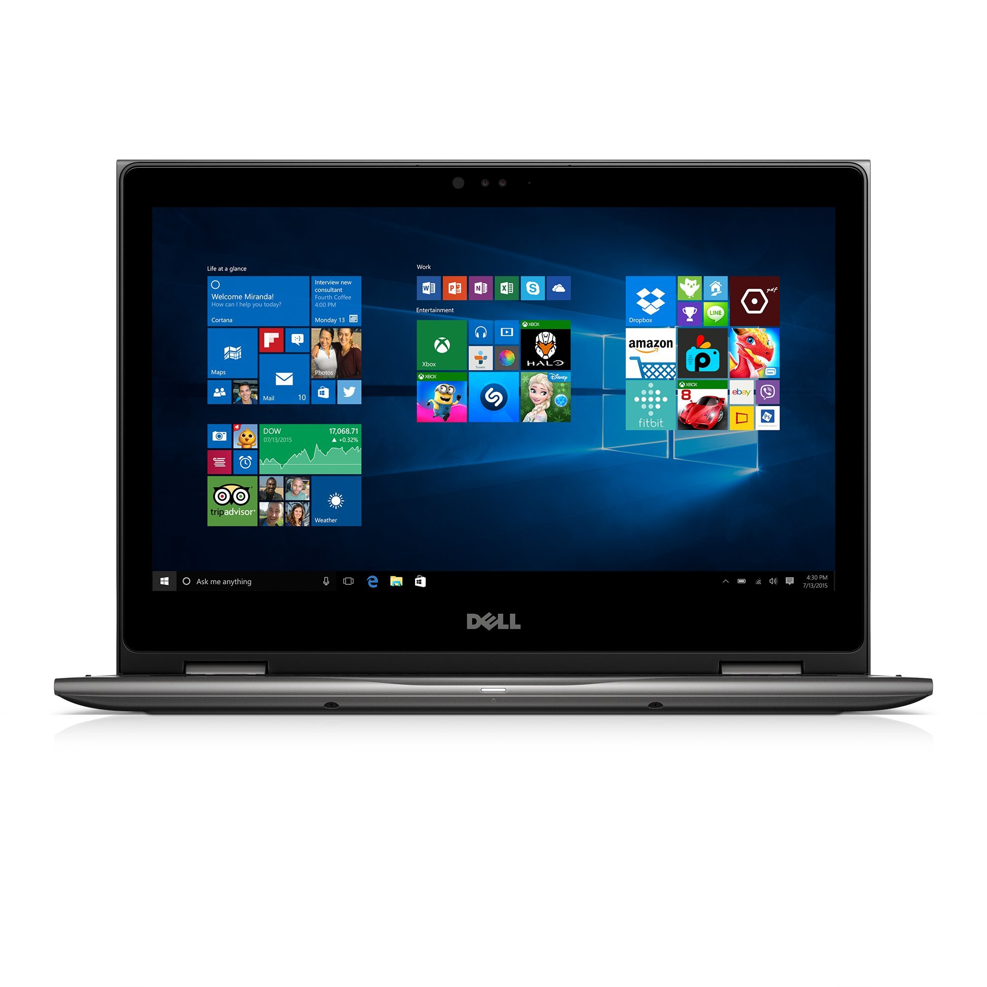 Dell i5368-10024GRY 13.3'' FHD 2-in-1 Laptop (Intel Core i7-6500U 2.5GHz Processor, 8 GB RAM, 256 GB SDD, Windows 10 Microsoft Signature Image) Gray